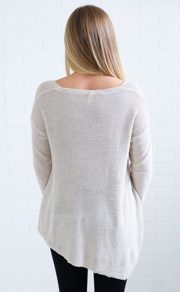 all is well slouchy sweater - taupe