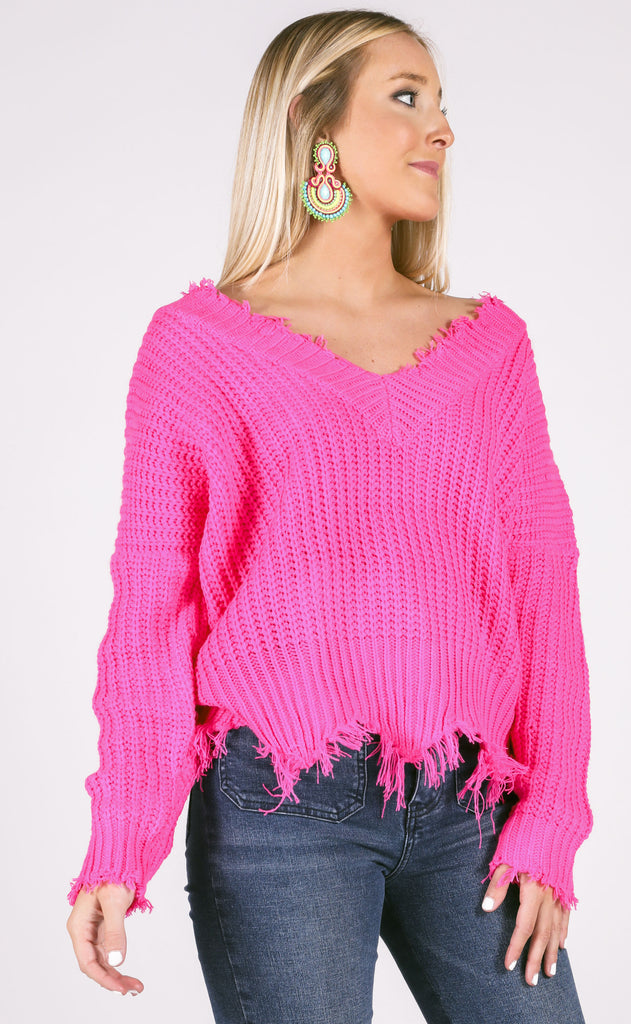 all nighter frayed sweater - fuschia