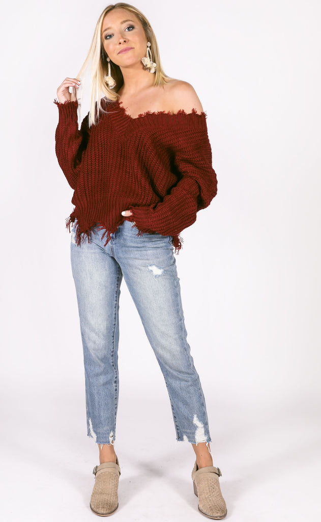 all nighter frayed sweater - burgundy
