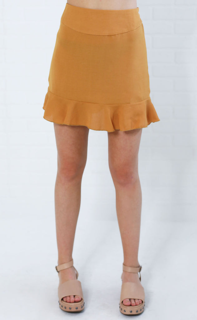 all ruffled up mini skirt - mustard