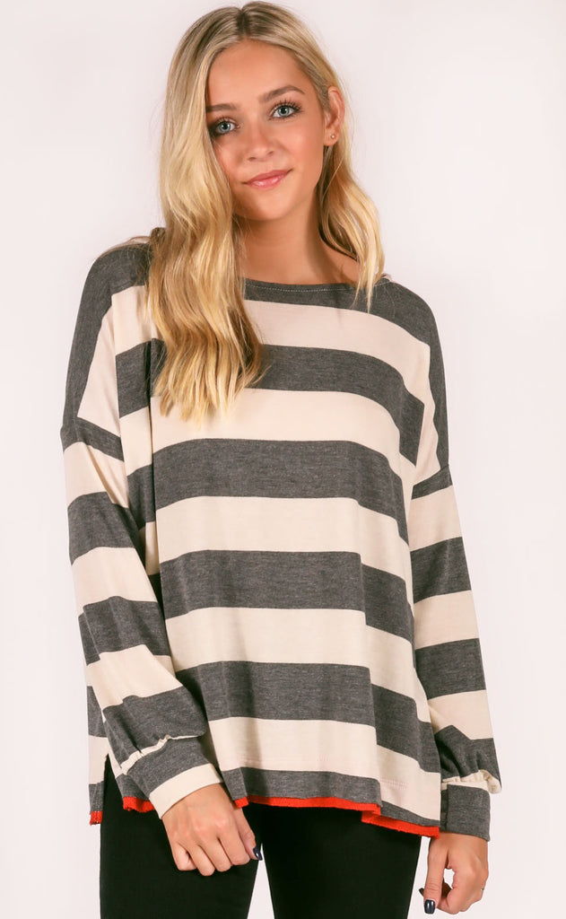 all striped up oversized pullover