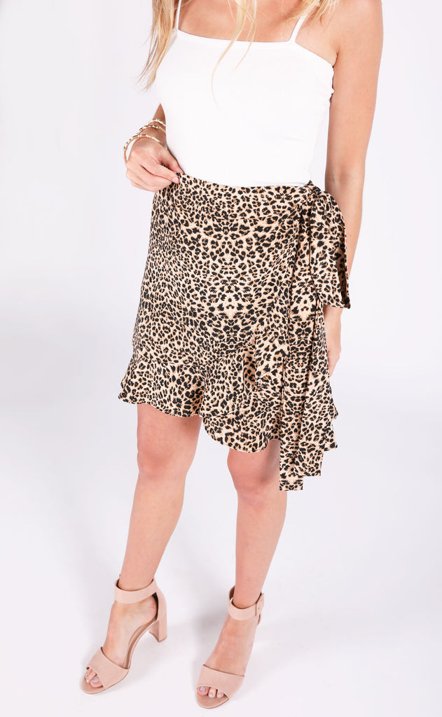 all tied up leopard skirt