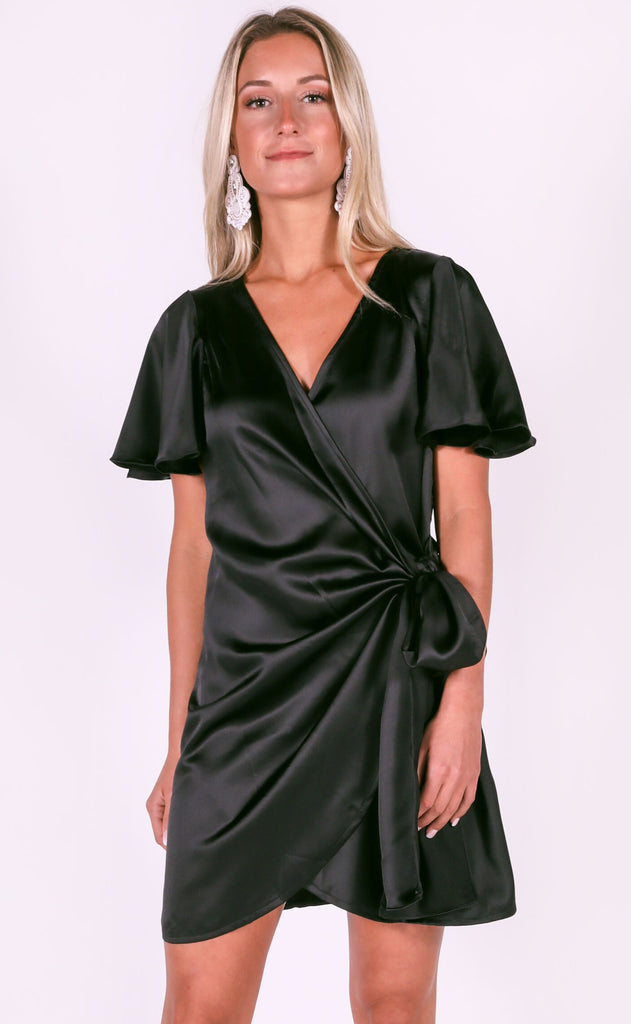 all wrapped up mini dress - black