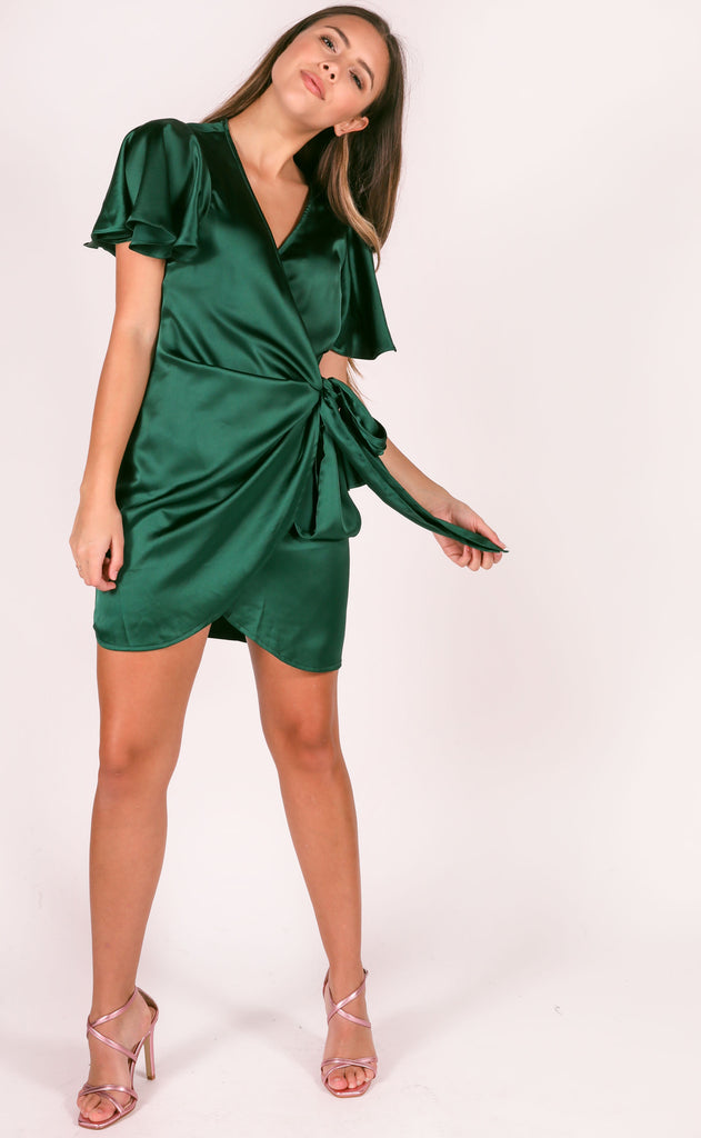 all wrapped up mini dress - hunter
