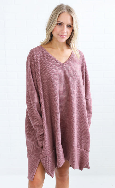 almost autumn knit tunic - mauve