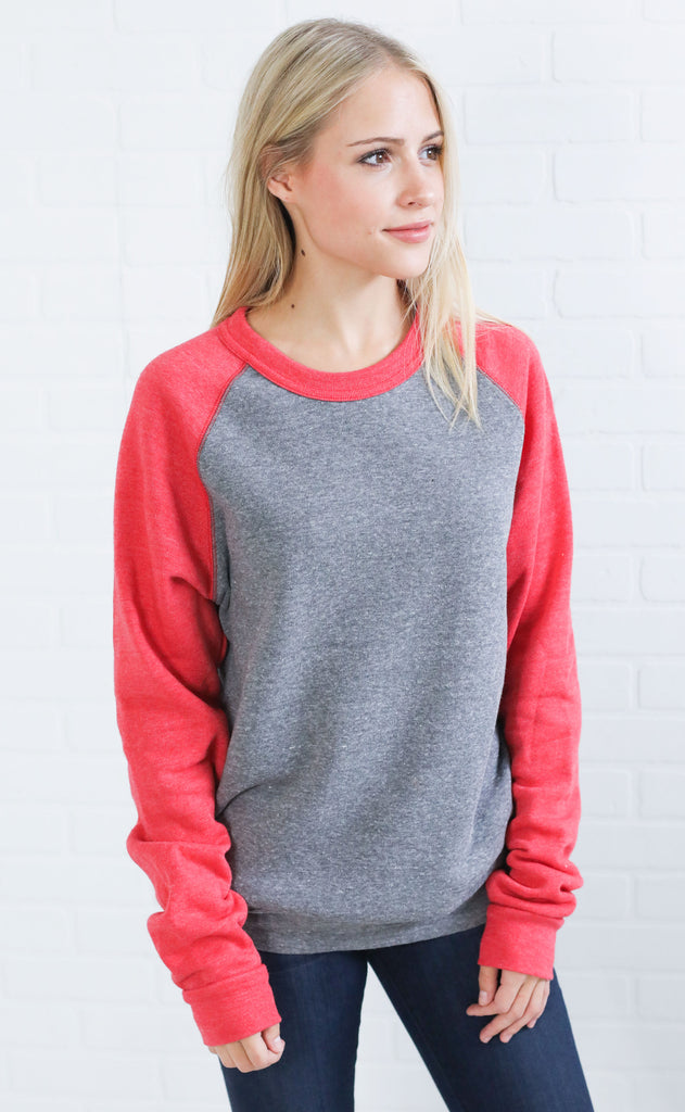 alternative: champ color block  eco-fleece sweatshirt - red/gray