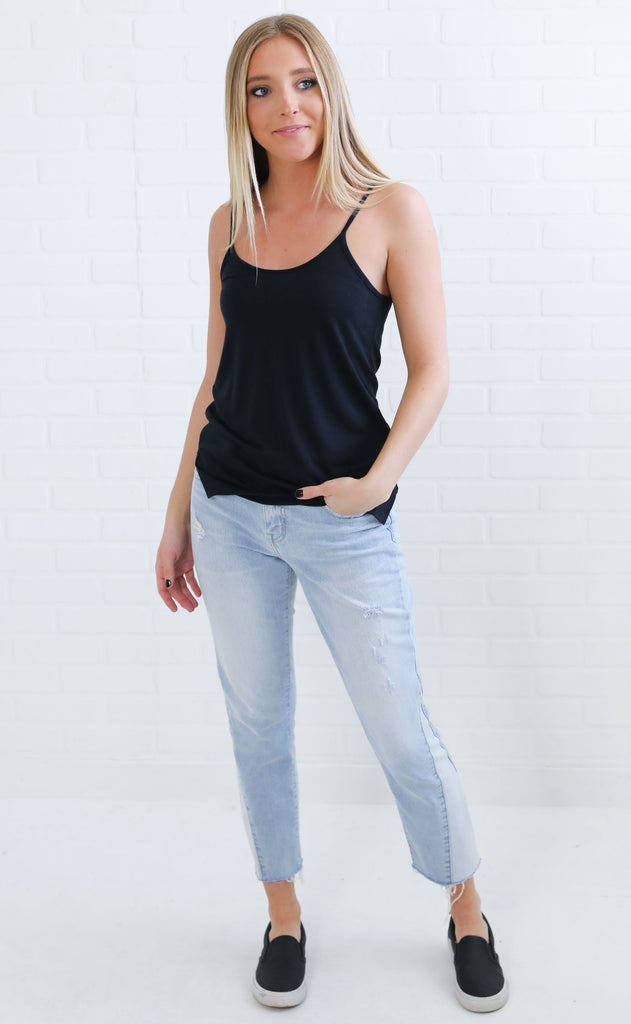 alternative: organic strappy tank top - black