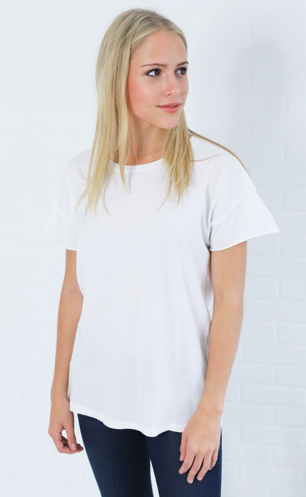 alternative: rocker distressed t-shirt - ivory