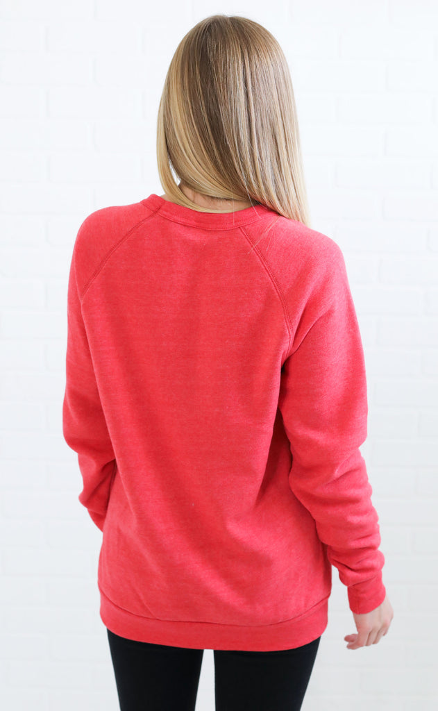 alternative: slouchy eco jersey pullover - red