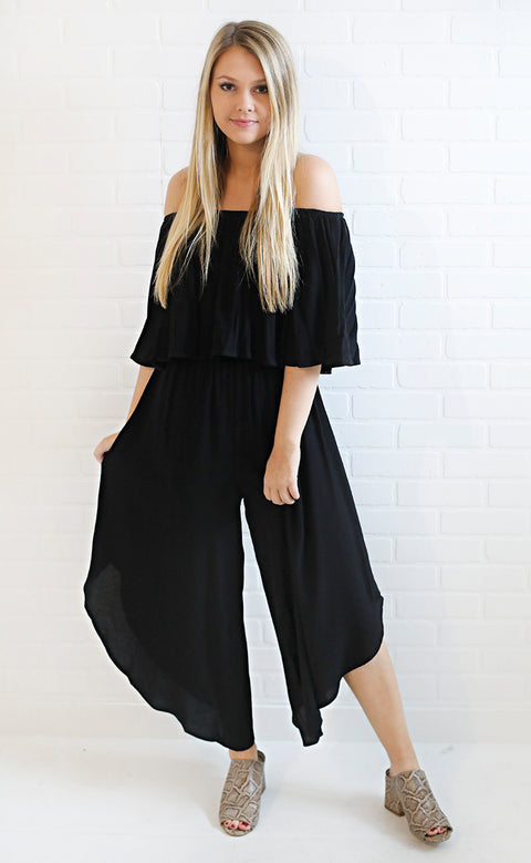 always stunning off the shoulder jumpsuit - black