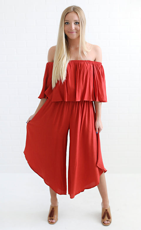 always stunning off the shoulder jumpsuit - rust