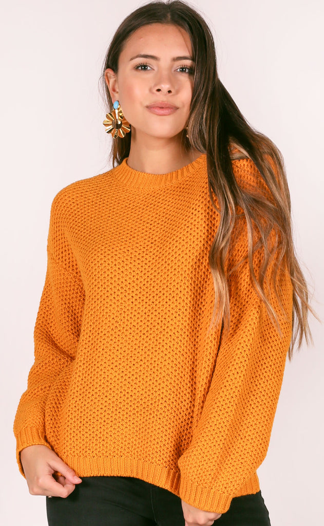 amuse society: amalia knit sweater - gold