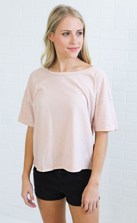 amuse society: andi crop tee - blush