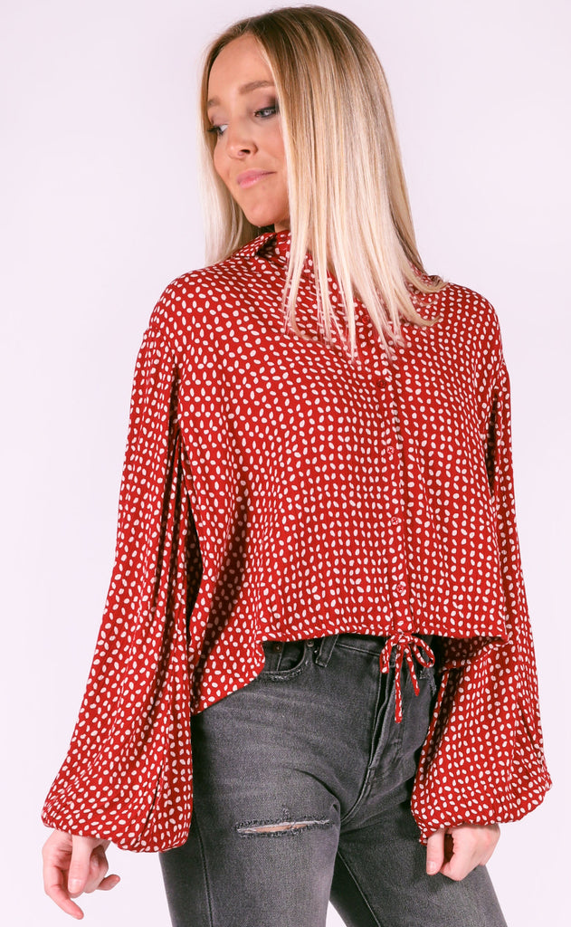amuse society: camille woven blouse - burgundy