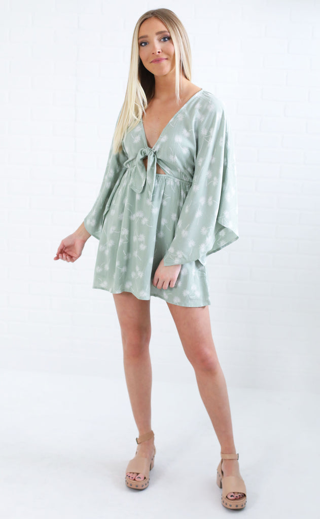 amuse society: clementina dress - palm green