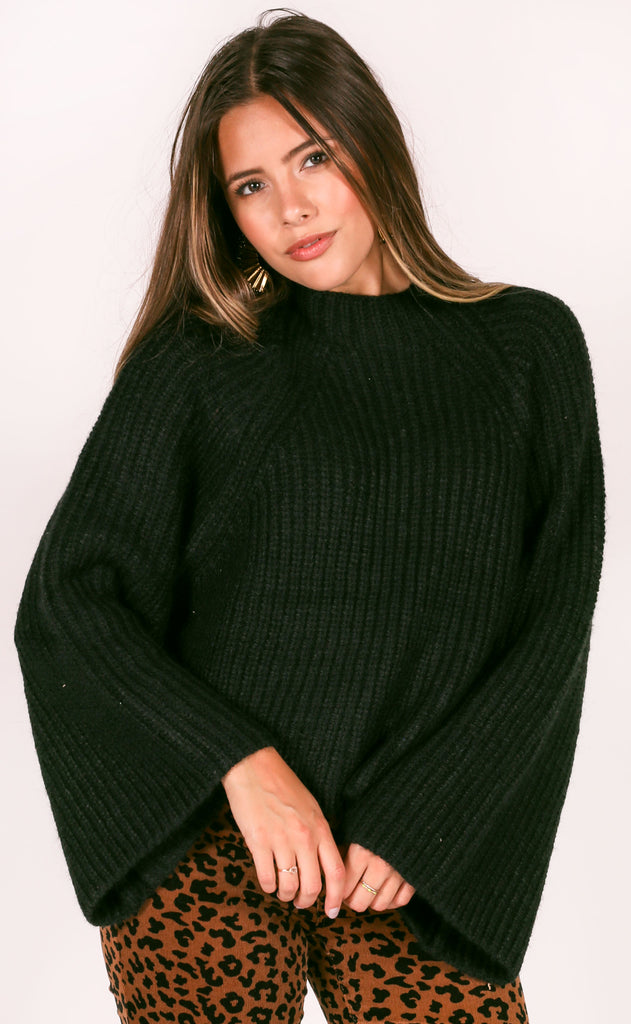 amuse society: lucca knit sweater - black