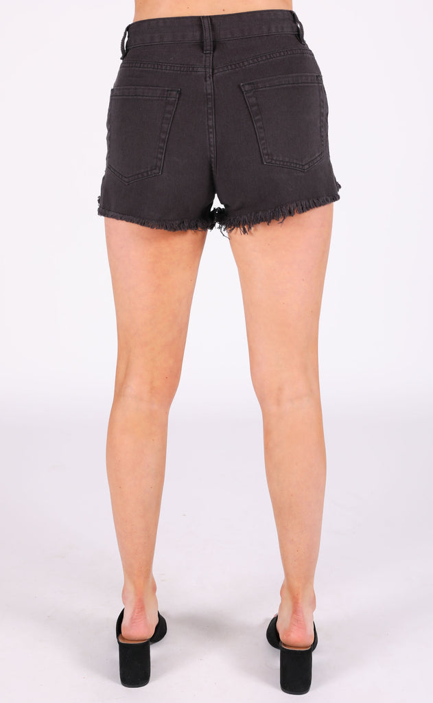amuse society: shoreline denim shorts - black