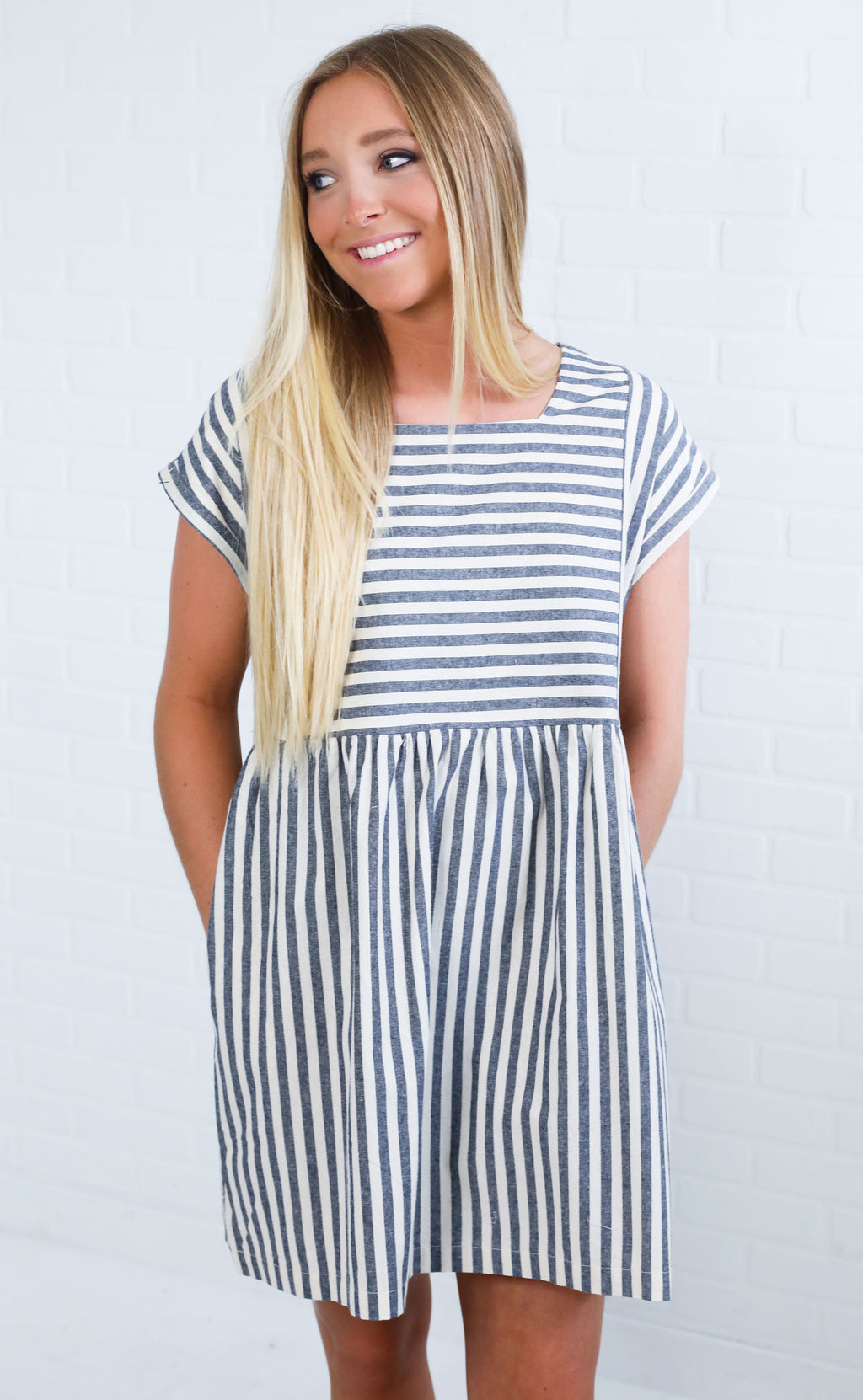 anchors away striped dress - navy