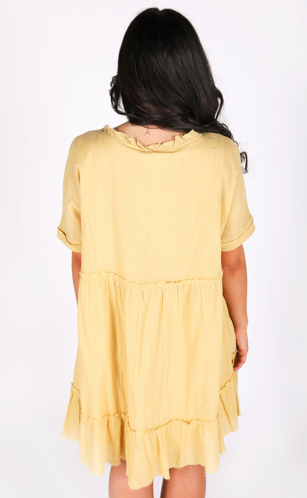 another day in paradise babydoll dress - mustard