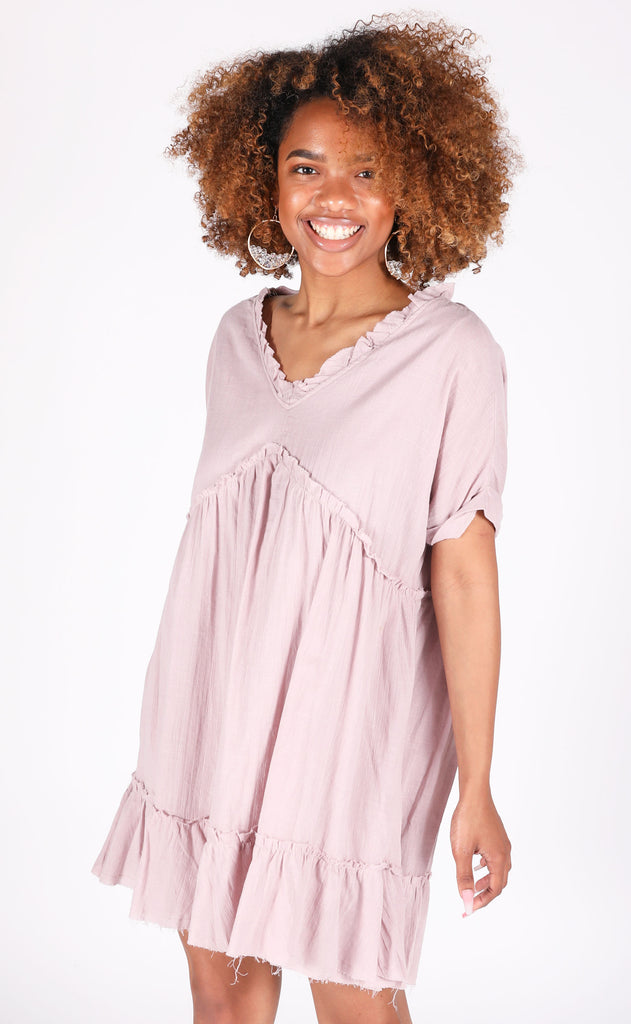 another day in paradise babydoll dress - lavender