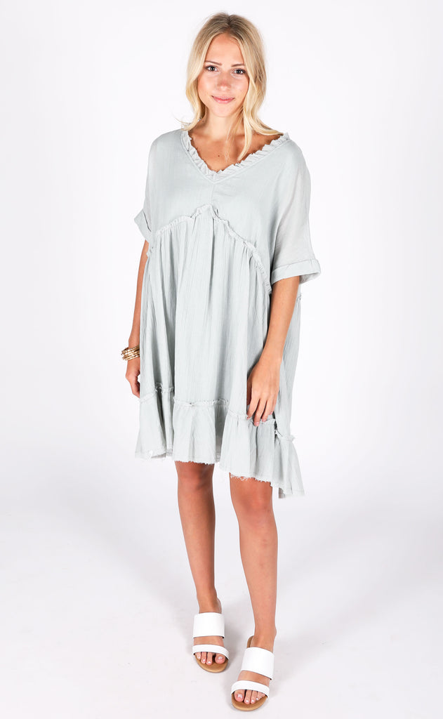another day in paradise babydoll dress - pale blue