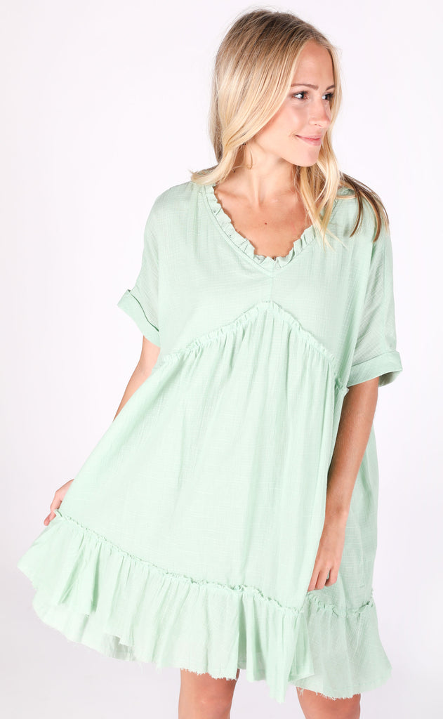 another day in paradise babydoll dress - sage