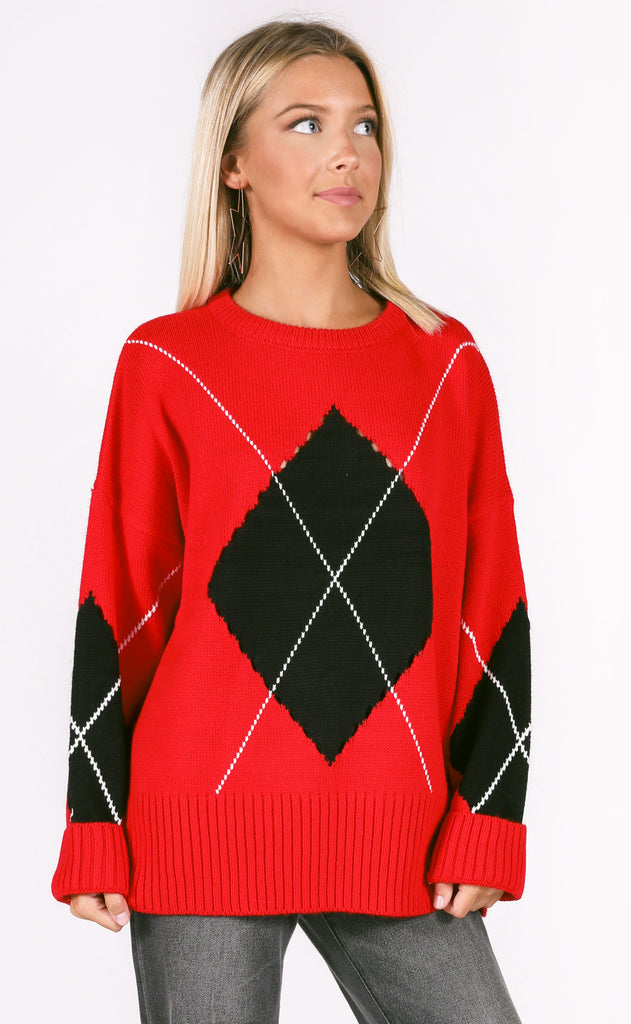 argyle knit sweater