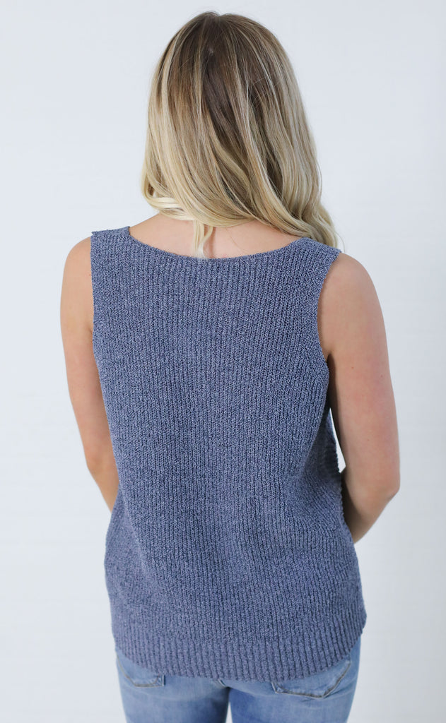 arizona knit tank - navy
