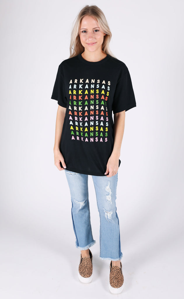 charlie southern: rainbow party state t shirt - arkansas