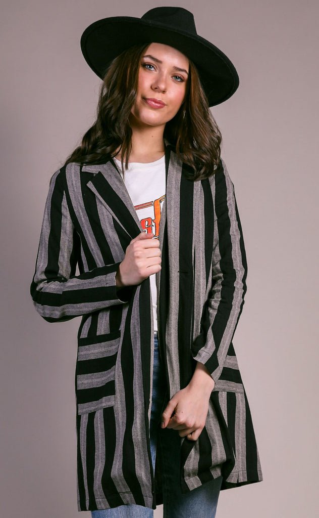 around town striped blazer jacket