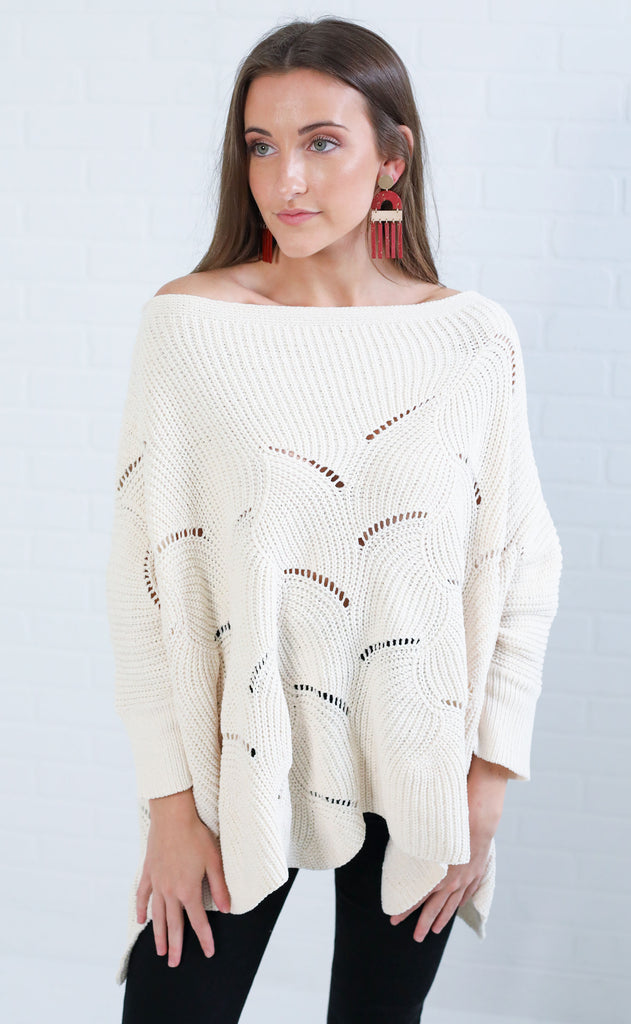 art deco chenille sweater - cream