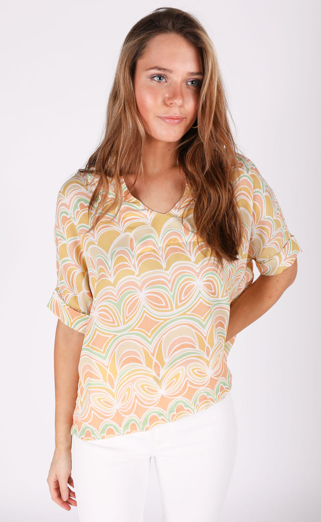 art deco printed top