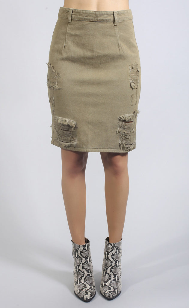 at attention distressed skirt