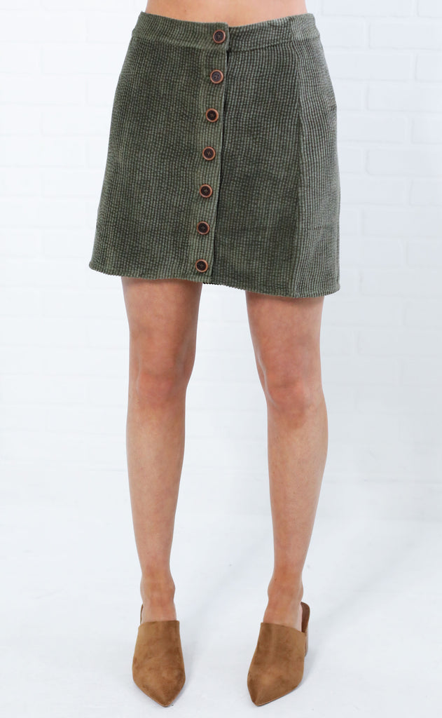 at the market corduroy skirt - olive