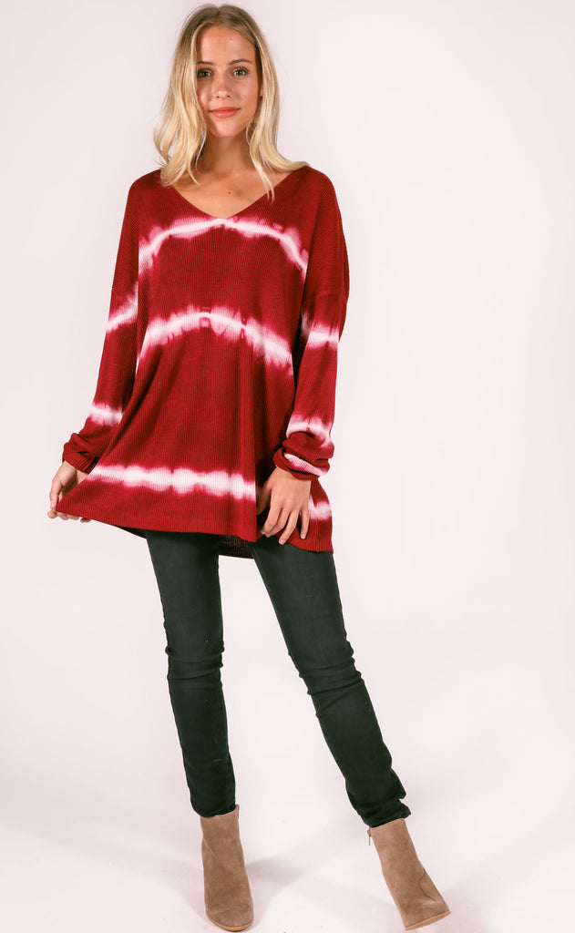 aurora knit sweater - burgundy