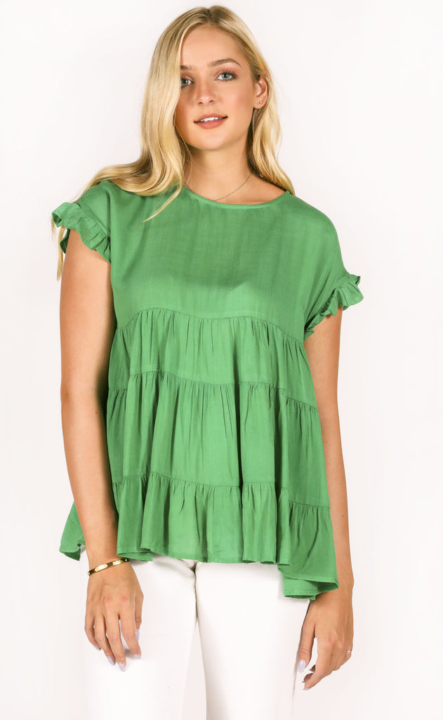 austin flowy top - green