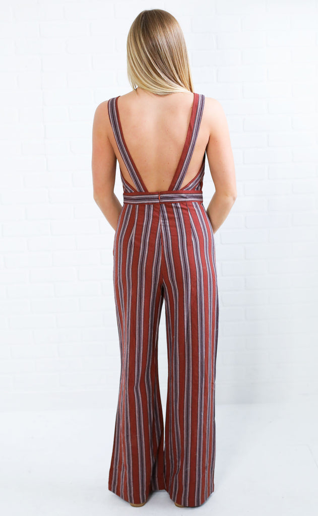 autumn getaway striped jumpsuit