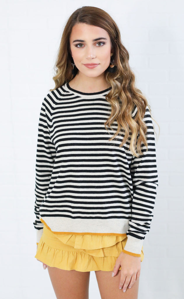 autumn day striped sweater