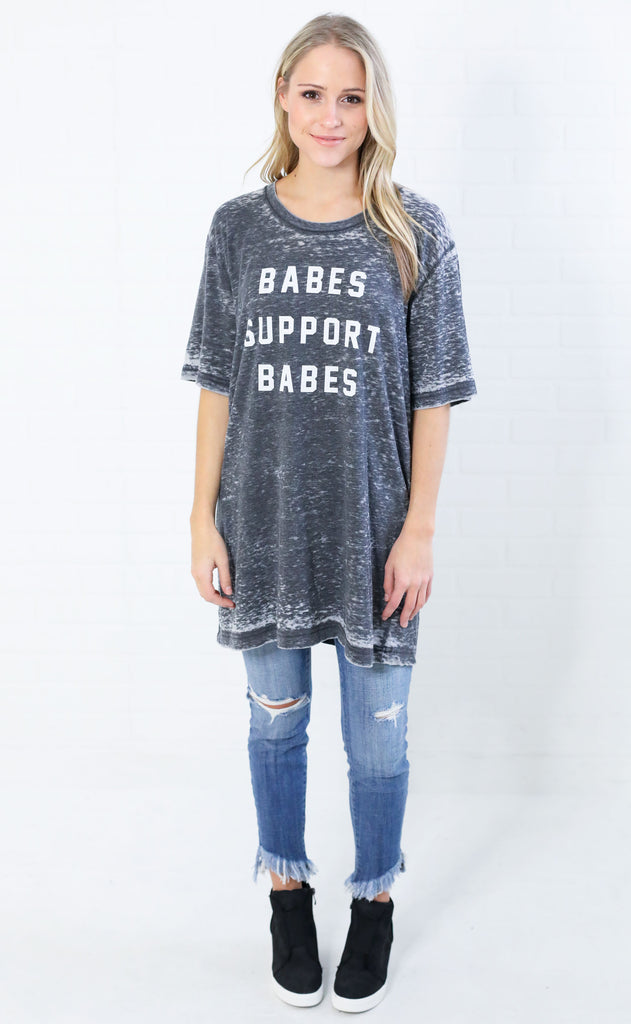 friday + saturday: babes support babes acid wash t shirt