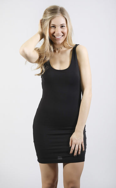 back to basics tank dress - black