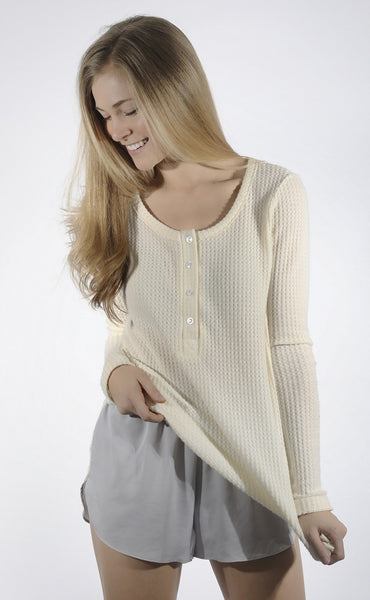 back to basics waffle knit henley - cream