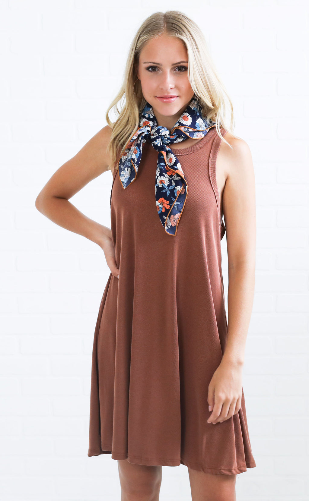 back to basics knit dress - rust