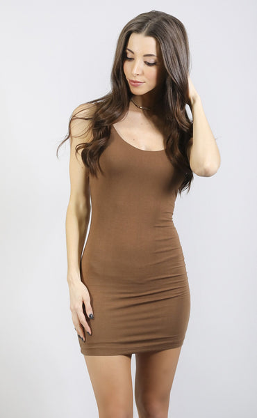 back to basics tank dress - mocha