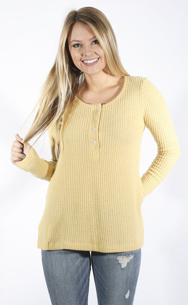 back to basics waffle knit henley - yellow