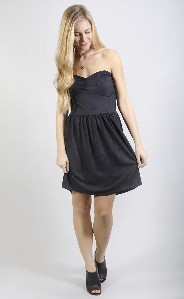 back to black suede dress