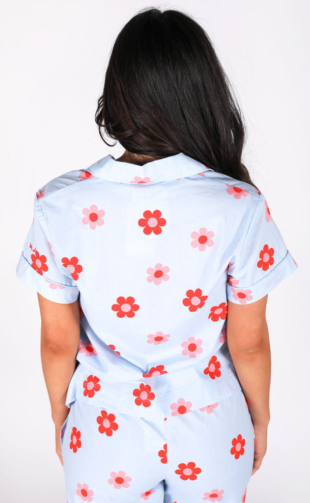 ban.do: short sleeve sleep top - retro daisy