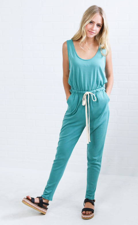 basic bliss cinched jumpsuit