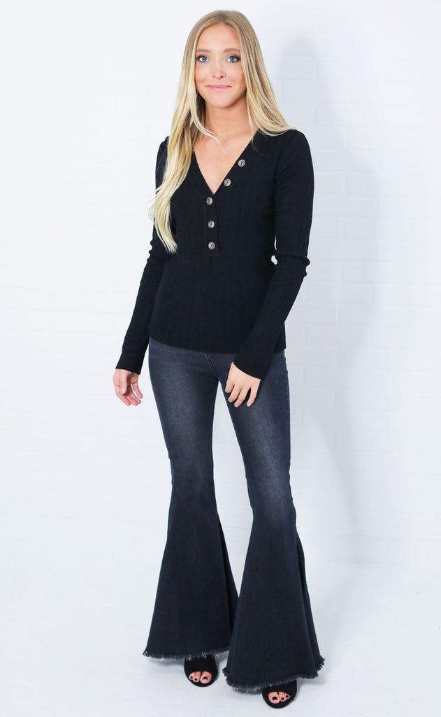 basic bliss ribbed top - black