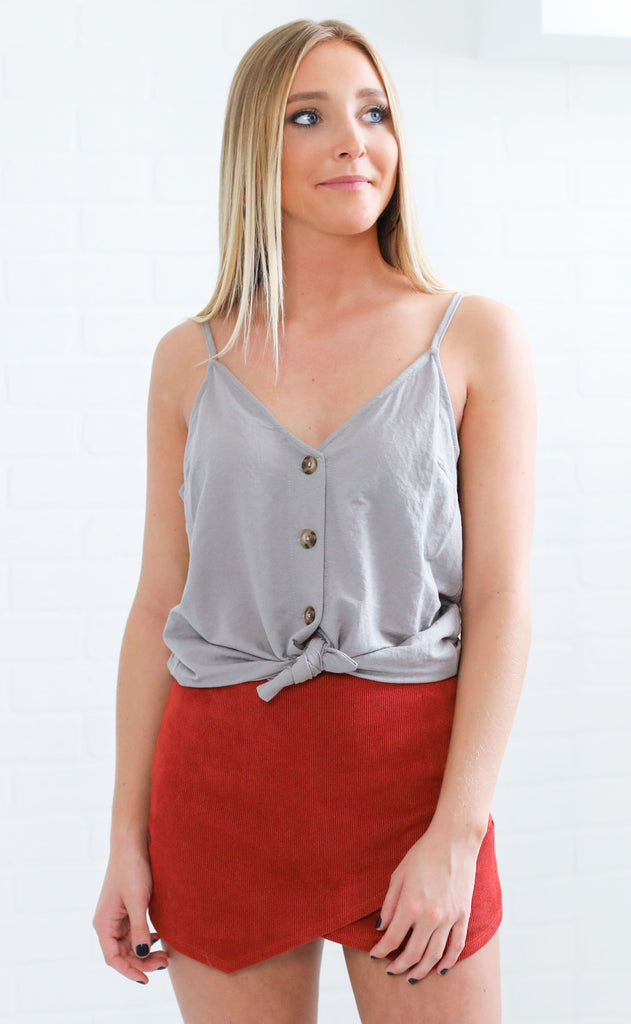 basic is best button up top - grey