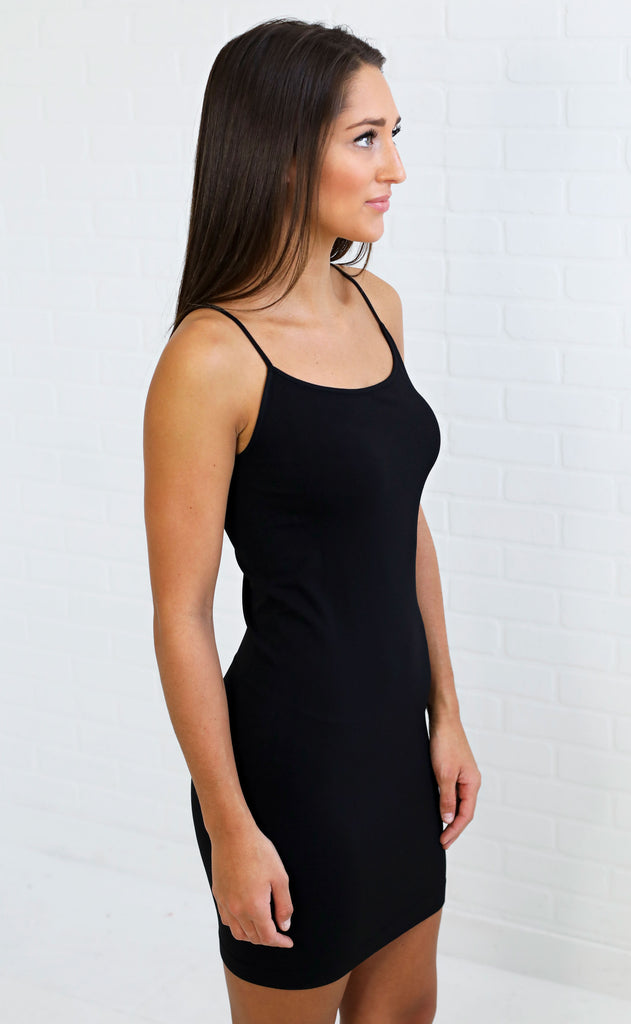 basic slip dress - black
